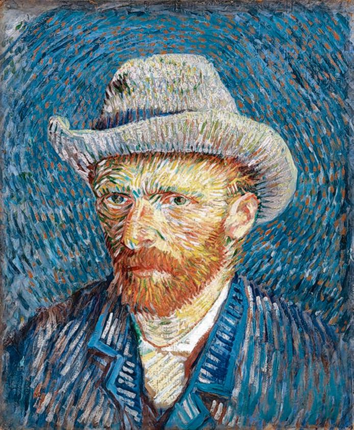 Zelfportret met grijze vilthoed, 1887, Vincent van Gogh.