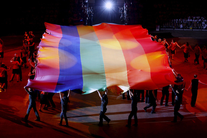 De openingsceremonie van de Euro Games in Barcelona in 2008.