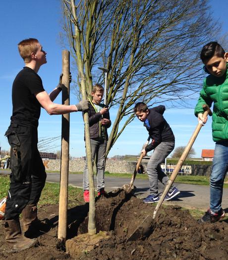 Oldenzaalse leerlingen planten bomen op Nationale Boomfeestdag