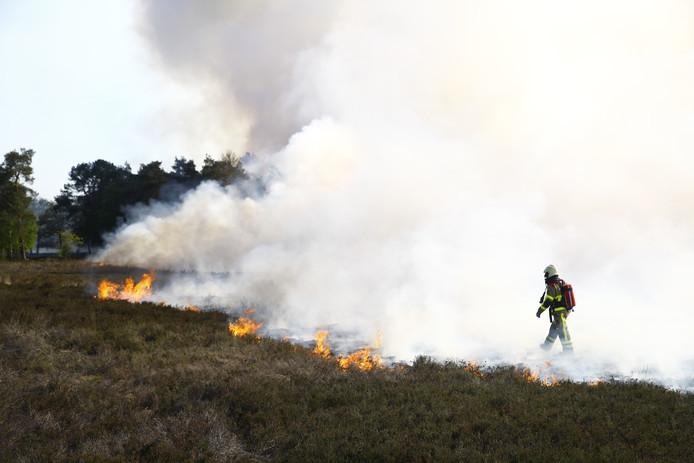 Aan het Manespad in Epe stond een flink stuk heide in de brand.
