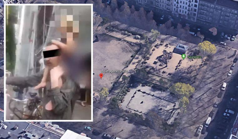 Het park Boxhagener Platz in Berlin. Inzet: de onbekende man met het kind.