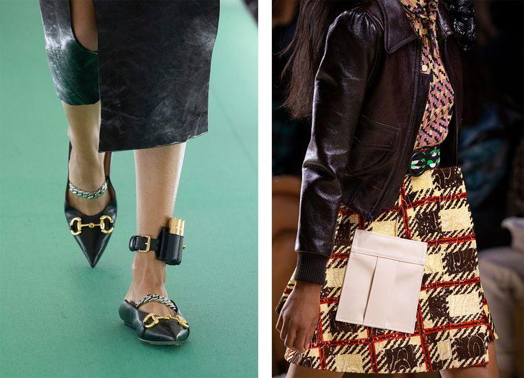 Bij Gucci om de enkel, bij Louis Vuitton op de rok. Beide prijs op aanvraag.  Beeld