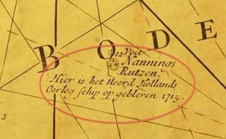Zeekaart met de locatie van het wrak 1715. Beeld Maritiem Museum Rotterdam