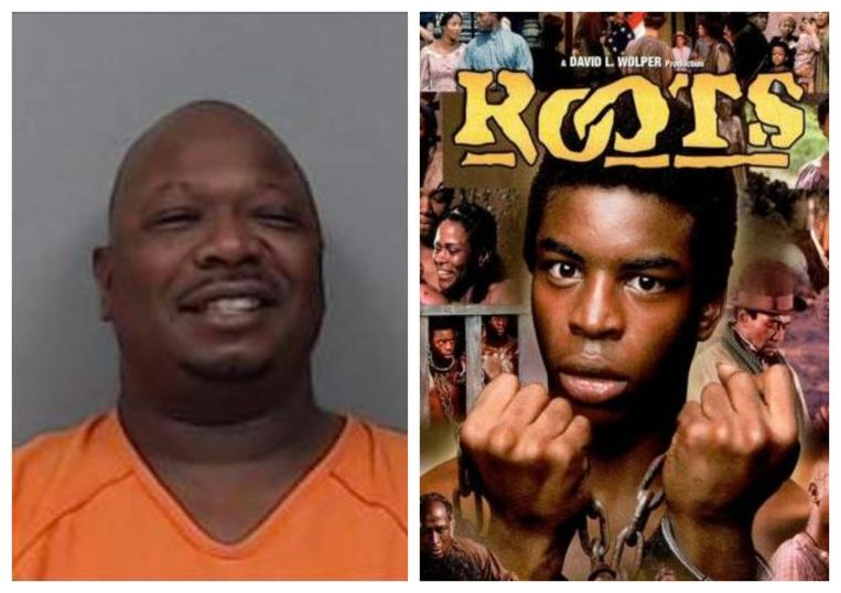 Links: de arrestatiefoto van Robert Lee Noy (52). Rechts: de tv-serie 'Roots' behandelt de gruwel van de slavernijperiode in de VS.