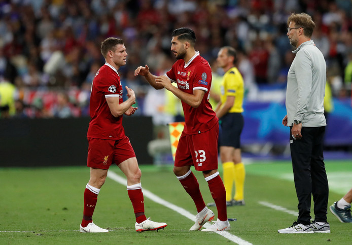 Emre Can valt in voor James Milner in de Champions League-finale.
