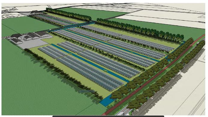 Het zonnepark dat op Heesch-West moet komen.