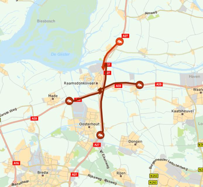 Ongeluk met vier auto's zorgt voor flinke vertraging op de A27