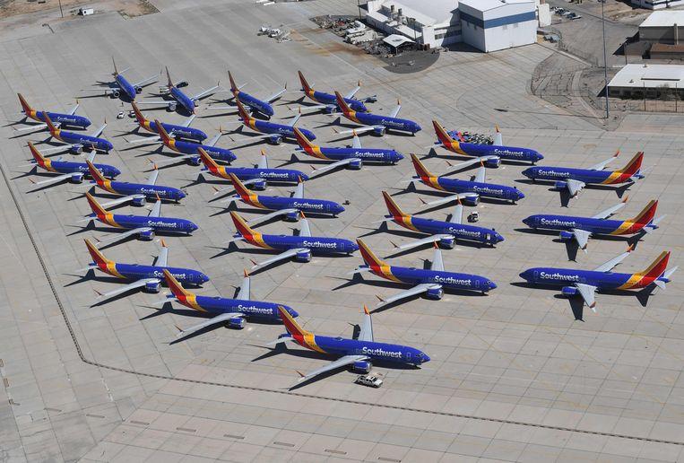 Boeing 737 Max-toestellen op Southern California Logistics Airport.  Beeld AFP