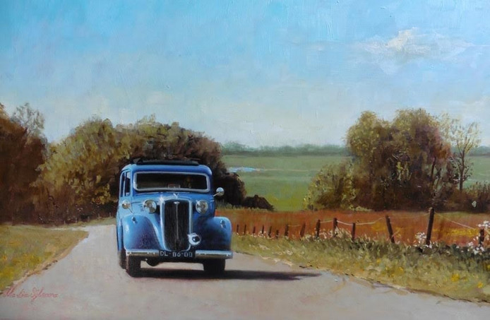 Martin Sijbesma maakt olieverfschilderijen van oude auto's en gebouwen.