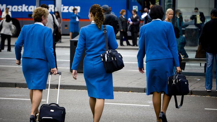 Cabinepersoneel van KLM op Schiphol. De stewardessen op de foto hebben niets met de veroordeling te maken. Beeld anp