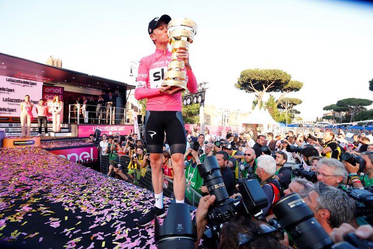 Chris Froome won in 2018 de Giro en is zo de zevende renner die alle grote rondes kon winnen.