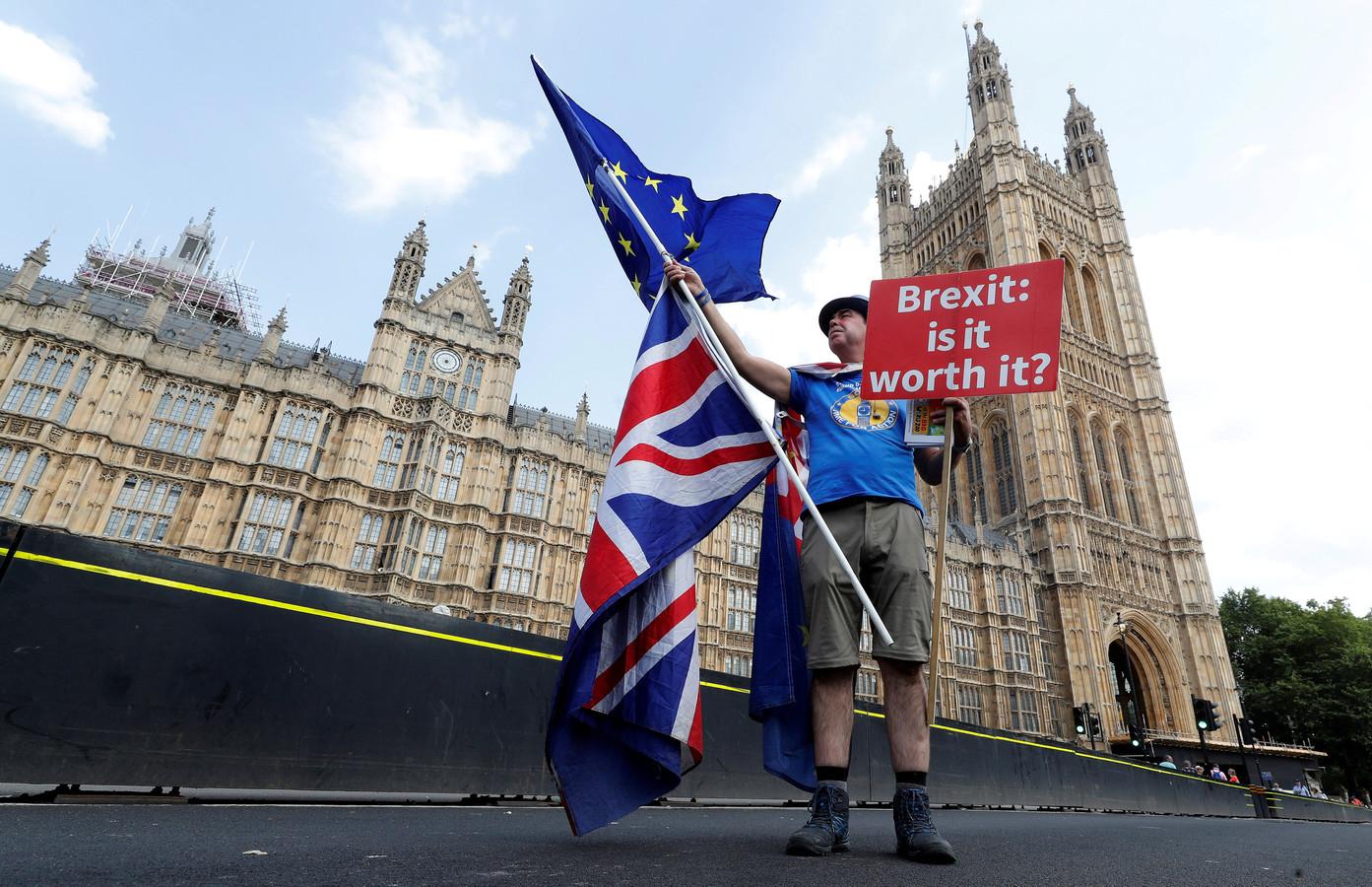 Een anti-Brexit-demonstrant op Westminster Bridge in Londen.