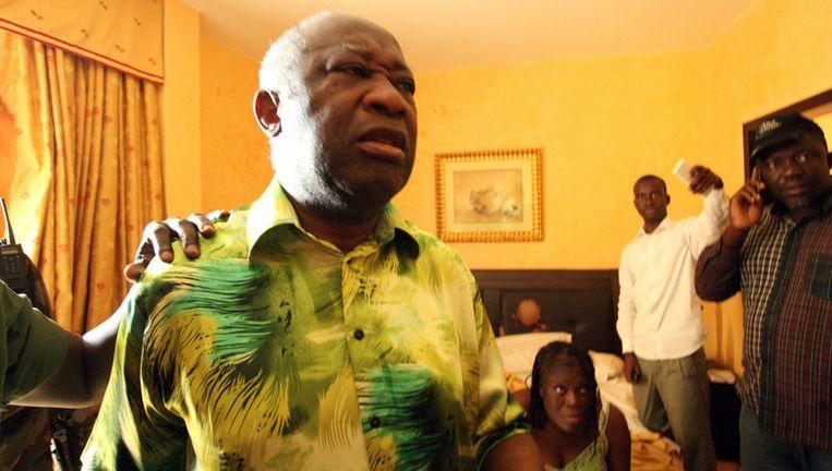 De Ivoriaanse ex-president Laurent Gbagbo vlak na zijn arrestatie 11 april 2011. Foto ANP. Beeld