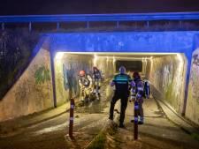 Mogelijke natuurbrand blijkt in brand gestoken baal hooi in fietstunnel onder A1