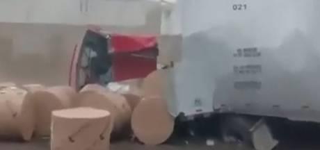 Enorme crash: vrachtwagen met remproblemen rijdt 160 km/uur