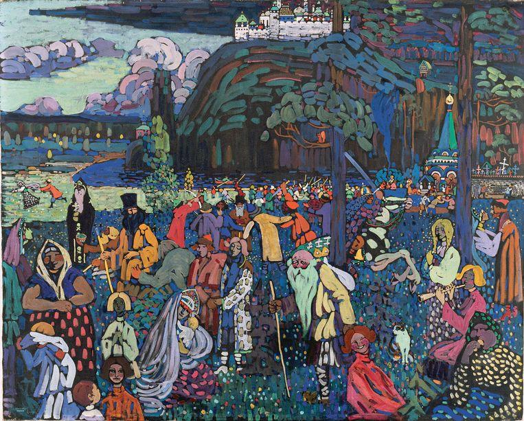 Das bunte Leben, Wassily Kandinsky, 1907 Beeld Lenbachhaus