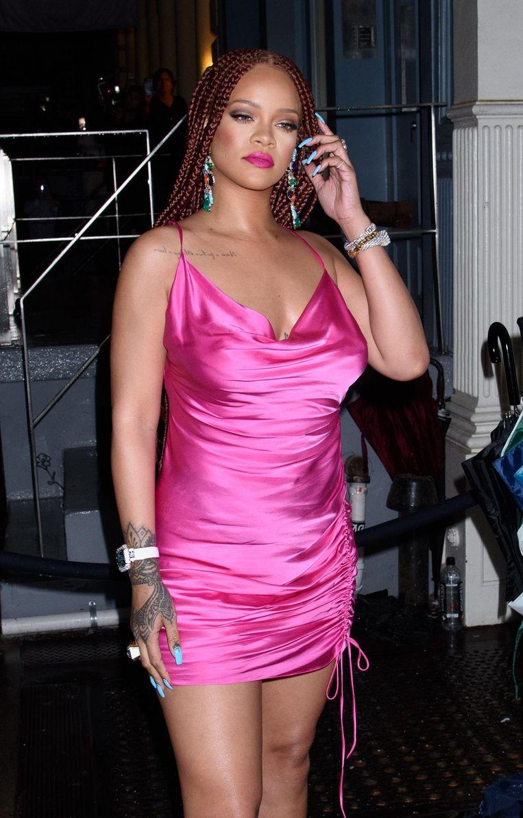 Rihanna tijdens de opening van haar pop-upstore in New York.