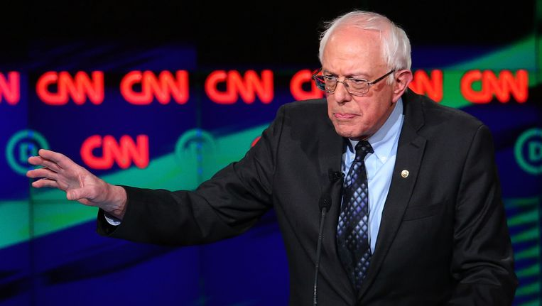 Bernie Sanders tijdens het CNN-debat in Flint, Michigan. Beeld getty