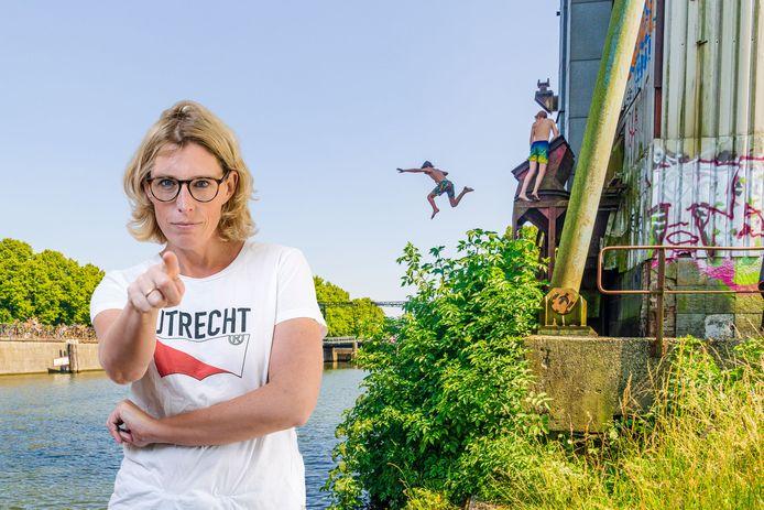 Jongeren springen van silokraan op de Kanaalweg in Utrecht. Inzet: Marieke Dubbelman.