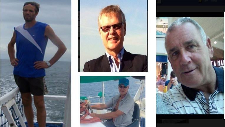 De vier mannen die Abu Sayyaf vorig jaar in gijzeling nam. Beeld EPA