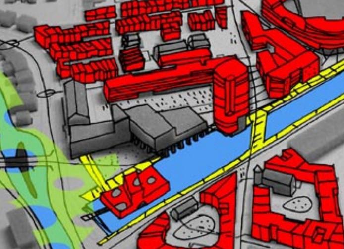 Een schets van de kop van het Eindhovensch Kanaal uit de ontwikkelvisie Picus-West/NRE-terrein uit 2004 van de gemeente Eindhoven. Linksonder is een paviljoen ingetekend, rechts daarvan aan de overkant van het water een woontoren.