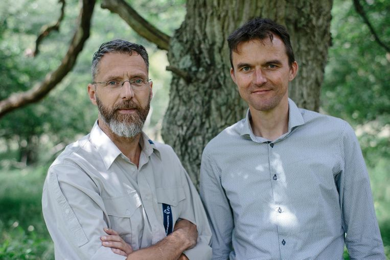 Aan Pander (links) en René Poll. 'Als in een boom een vogel zit te broeden, wordt daar niet begraven.' Beeld Marc Driessen