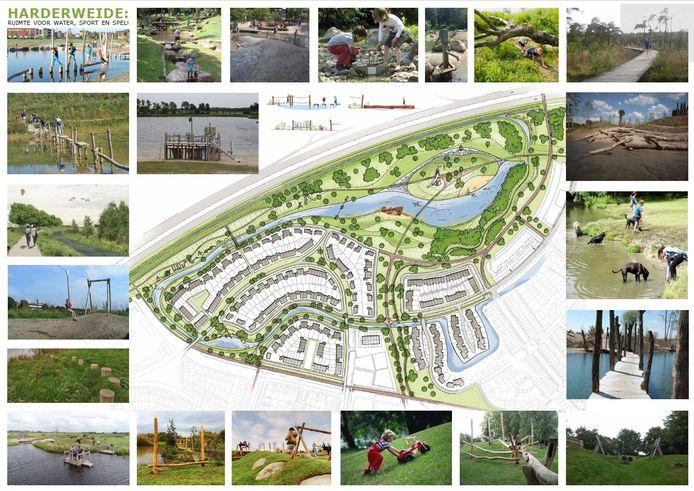 Dit is het inrichtingsplan voor het recreatiegebied rond de waterberging in de bocht van de A28, met daaromheen beelden die een indruk geven van de opzet.