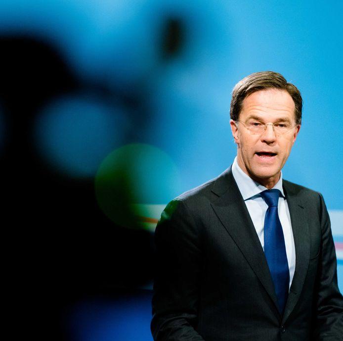 Premier Mark Rutte tijdens de persconferentie na de ministerraad. ANP BART MAAT
