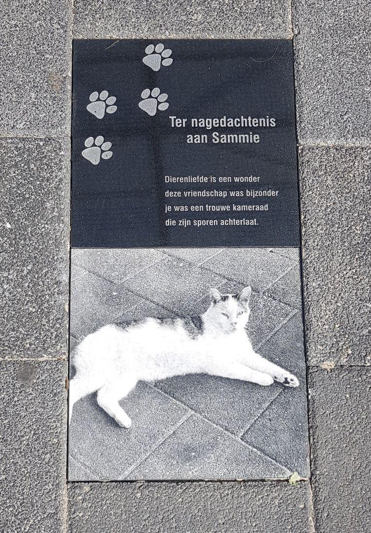 De gedenksteen die de supermarkt voor Sammie heeft laten maken.