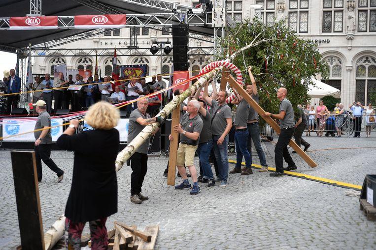 De Meyboomplanting op de Grote Markt in Leuven.