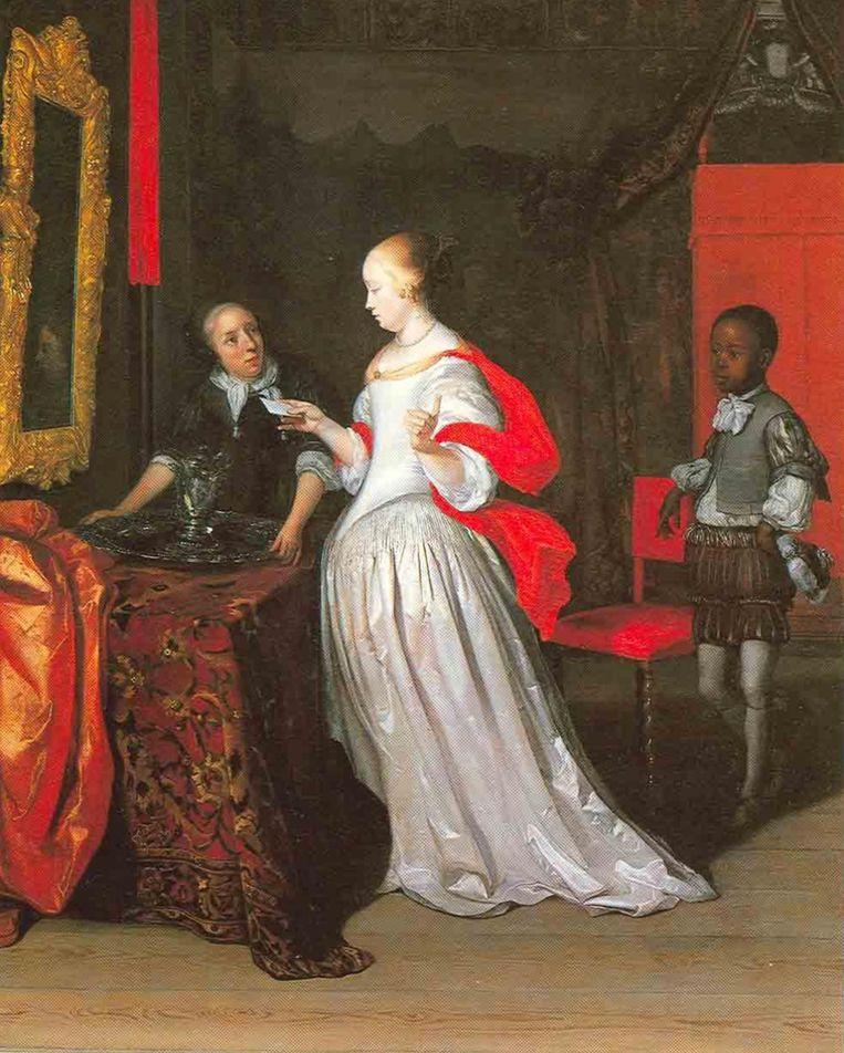 Dame met een brief, geflankeerd door een blanke bediende en een jonge zwarte, geschilderd door Eglon van der Neer in 1680. Beeld Privécollectie