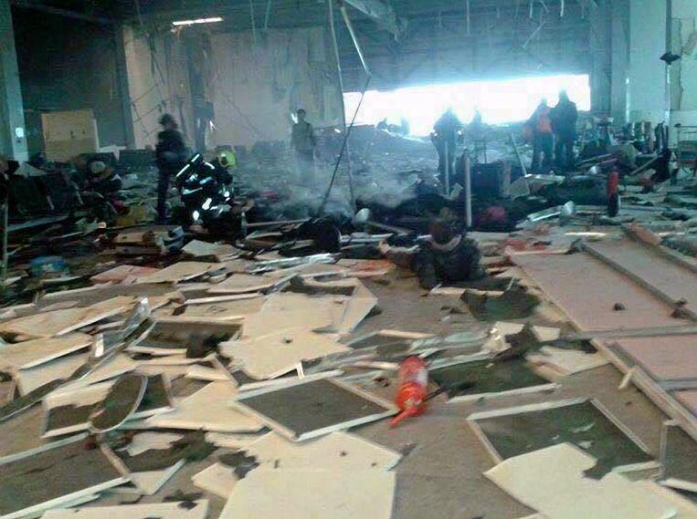 De ravage na de aanslag op Brussels Airport.