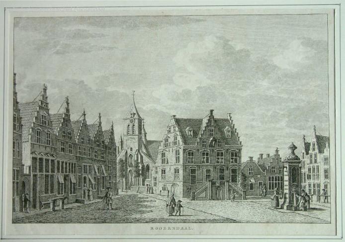 Gravure waarop we de St. Jan en het oude raadhuis van Roosendaal nog herkennen.  De toren van de kerk en de gewelvenzaal in het raadhuis zijn de enige gebouwen die de Tachtigjarige Oorlog (1568-1648) overleefden.