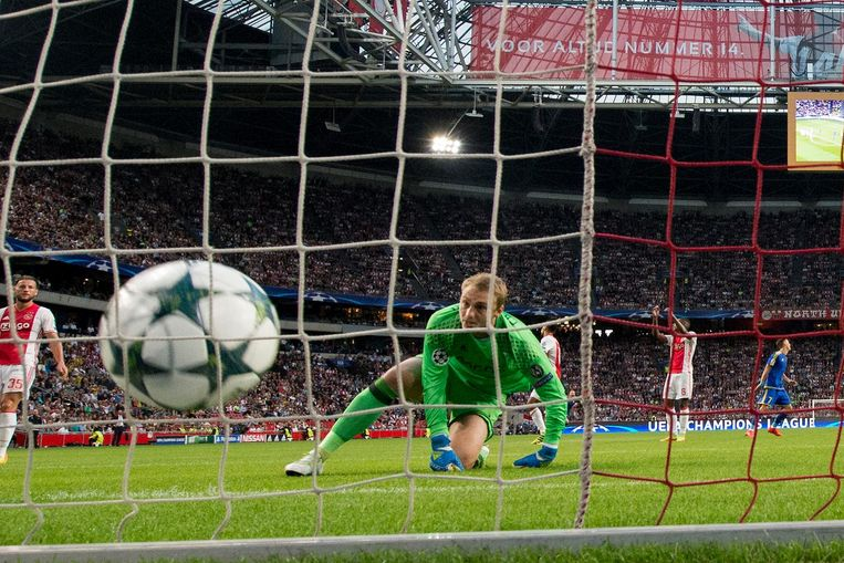 Ajax-keeper Jasper Cillessen na de 0-1 van FK Rostov in de heenwedstrijd in de ArenA. Beeld anp