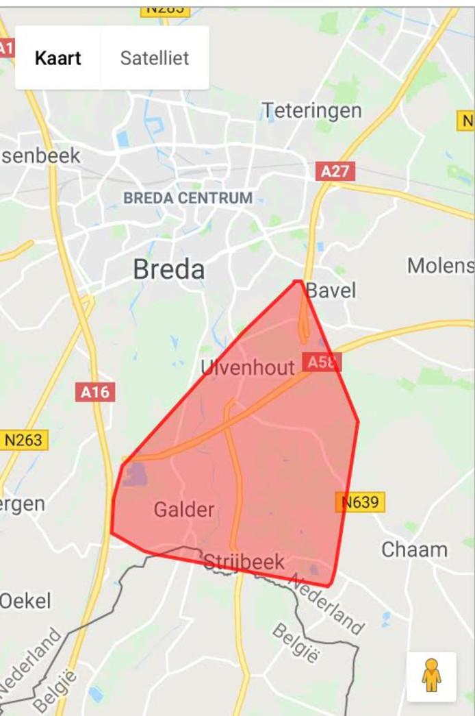 Het gebied dat werd getroffen door de stroomstoring in het verdeelstation in Ulvenhout.