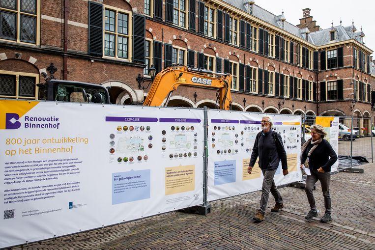 Funderingsonderzoek bij enkele delen van de gebouwen van de Eerste Kamer en Raad van State op het Binnenhof.  Beeld ANP