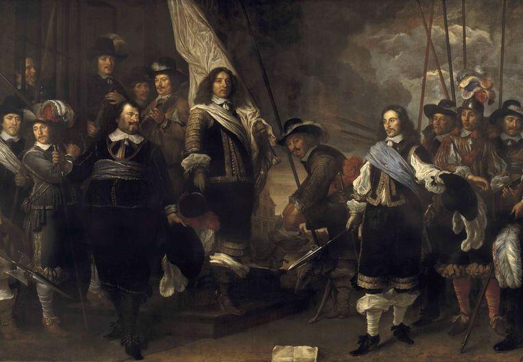 Schutters van de compagnie van kapitein Joan Huydecoper en luitenant Frans van Waveren, van Govert Flinck uit 1648. Onderdeel van de collectie van het Amsterdam Museum. Beeld EPA