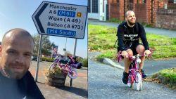 Man rijdt meer dan 300 kilometer op roze fiets van dochters