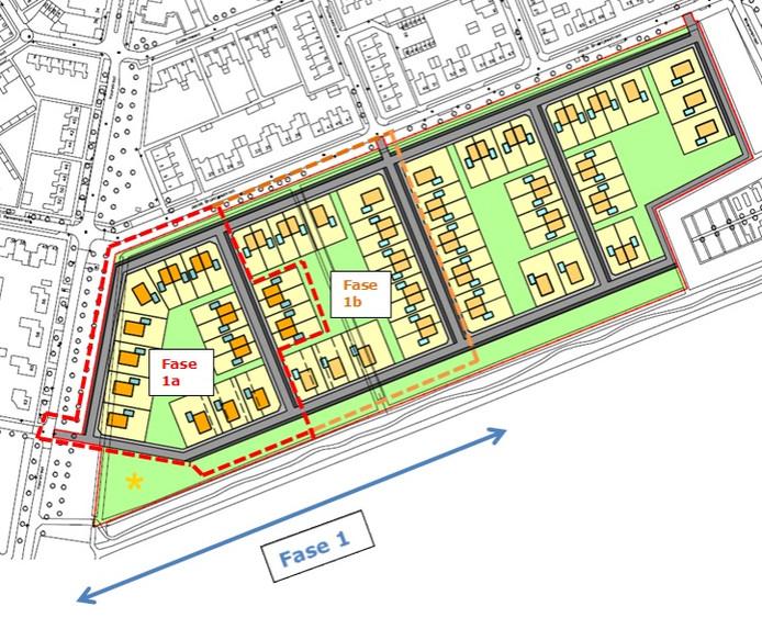 De indeling van de nieuwe wijk.