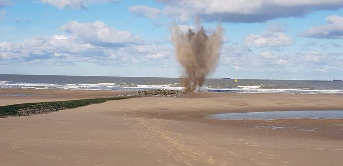 L'explosion de l'obus a été déclenchée sur la plage de Blankenberge.