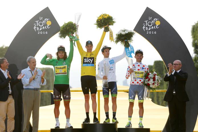 De winnaars van de klassementen vorig jaar: Peter Sagan (groen), Chris Froome (geel), Adam Yates (beste jongere), Rafal Majka (bollen)