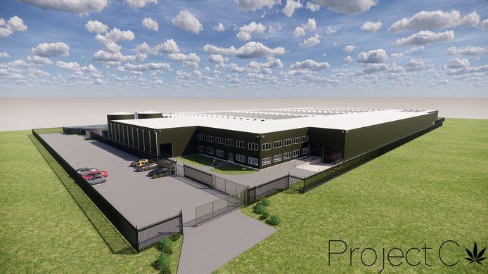 Een eerste ontwerp voor het hennepcomplex dat Project C wil realiseren ergens in West-Brabant.