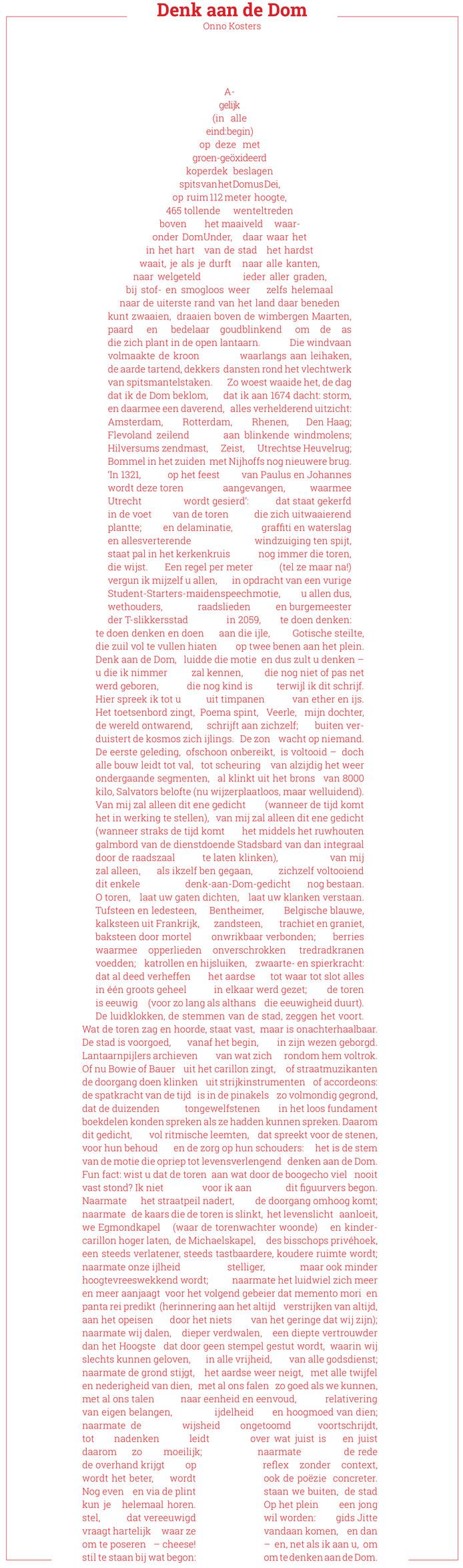 Gedicht Denk Aan De Dom In 112 Regels Daal Je De Domtoren