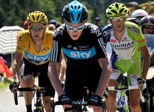 De drie laatste Tourwinnaars, hier tijdens de Tour van 2012: Wiggins (l), Froome (m) en Nibali.