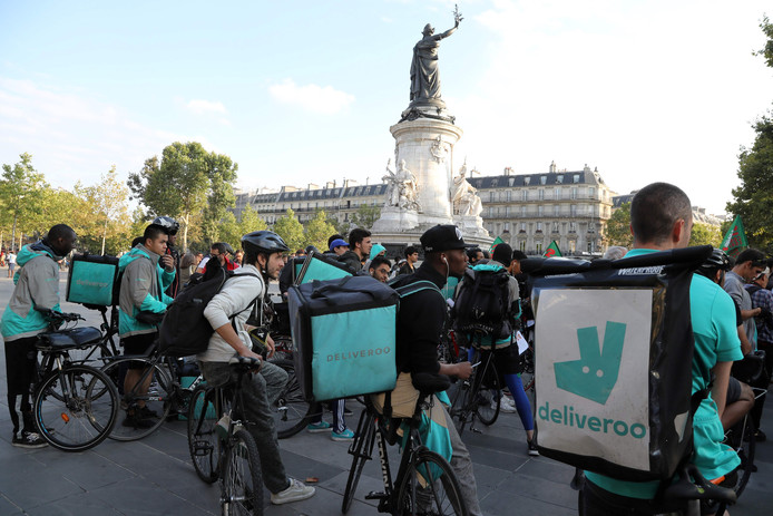 In Parijs demonstreerden Deliveroo-bezorgers begin deze maand nog voor een vergoedingsverhoging