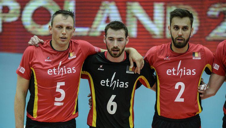 Depestele (links) voor de wedstrijd tegen Australië.