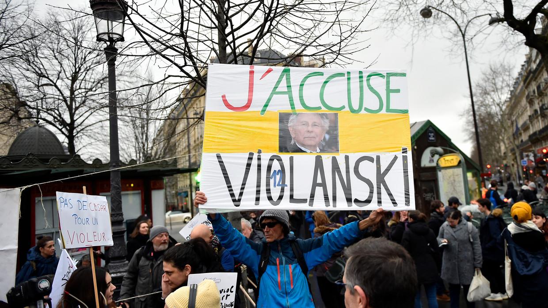 Protest tegen Roman Polanski en zijn nieuwe film in Parijs, 28 februari 2020.  Beeld Getty Images