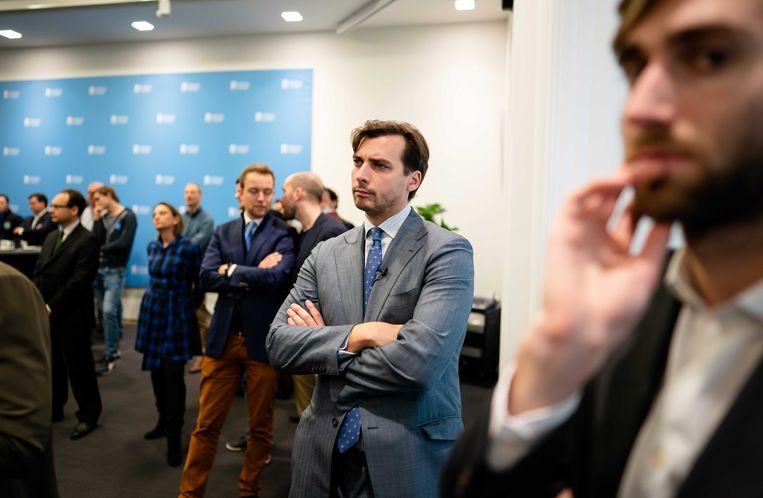 Thierry Baudet (FvD) tijdens de presentatie van het onderzoek naar de stikstofmodellen van het Rijksinstituut voor Volksgezondheid en Milieu (RIVM).  Beeld ANP