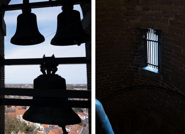 De toren van de Lebuïnuskerk in Deventer, 10 april 2020. Beeld Sabine van Wechem