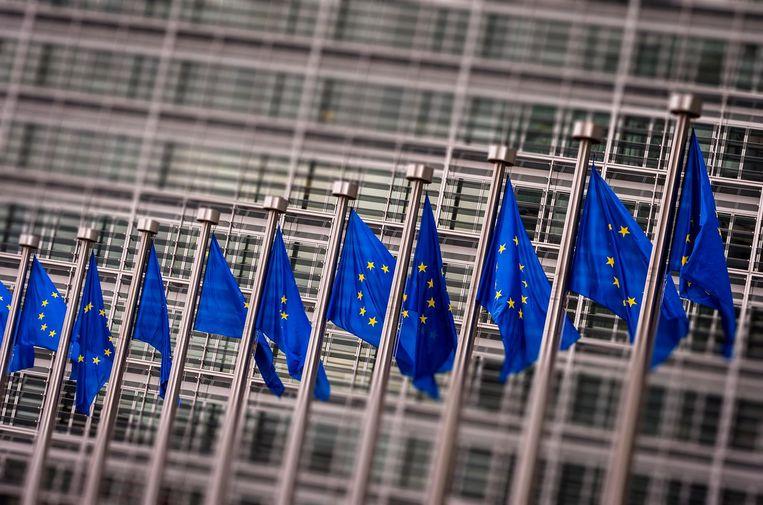 Vlaggen voor het Berlaymont gebouw in Brussel. Het hoofdkantoor van de Europese Commissie. Beeld ANP